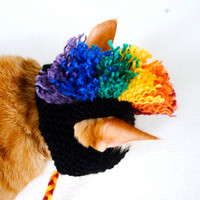 Cat Hat Costume - Black and Rainbow Mohawk