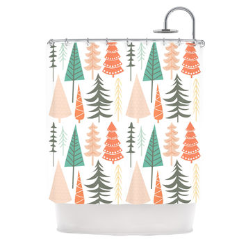 "KESS Original ""Happy Forest Orange"" Green Shower Curtain"