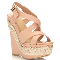 Winona Nude Straw Wedge - Shoes - New In - Miss Selfridge