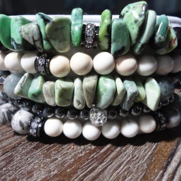 Black Agate and Green Turquoise Beaded Bracelet/Cubic Zirconia/CZ's