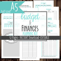Printable Budget Planner-A5-Filofax Insert Printable-Family Budget Planner-Monthly Budget Planner-12 Sheets-Blue-Instant Download &Editable