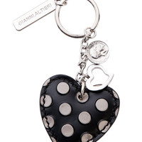 Heart Hand Painted Leather Keychain-Grey Dots
