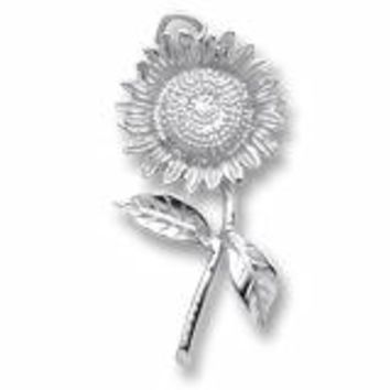 Sunflower Charm In Sterling Silver