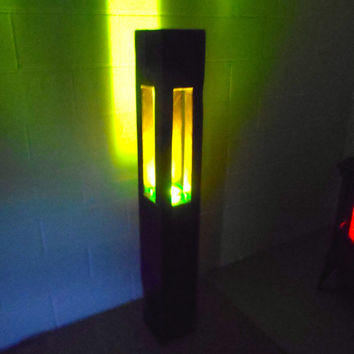 Repurposed Red Oak Timber Lamp, Free Standing Lamp, Green Mood Lamp