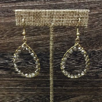 Gray Crystal Line Teardrop Earrings