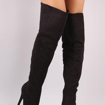 Suede Pointy Toe Slit Stiletto Over-The-Knee Boots