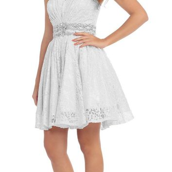 Starbox USA 6153 Strapless Rhinestone Waist Short Prom Dress Off White