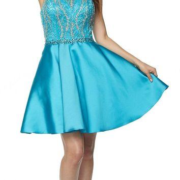 Juliet 785 Turquoise A-Line Short Prom Dress Cut Out Back Halter Neckline