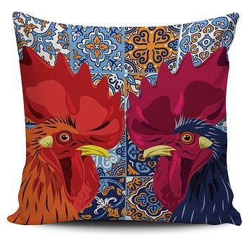Ceramic Rooster Pillow Cover