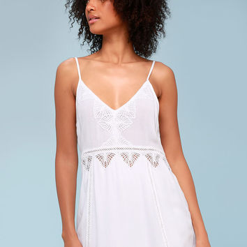 Beach Luxe White Crochet Dress