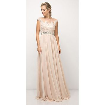 Champagne Cap Sleeved Long Formal Dress Illusion with Appliques