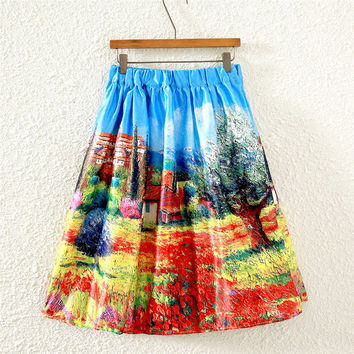 Vintage Scenery Print Pleated Midi Skirt
