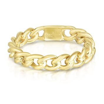 14k Yellow Gold Twisted Cable Womens Ring, Size 7