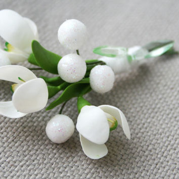 Snowdrops Flower Brooch & Boutonniere. Polymer clay brooch. Floral brooch. Spring blossoms jewelry. Plants jewelry. Spring wedding jewelry