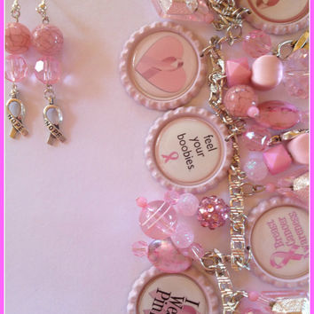 Breast Cancer Awareness Custom Charm Bottle Cap Bracelet Jewelry Pink Women