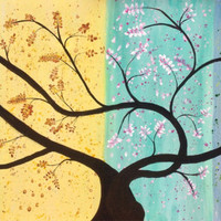 Four Seasons Extra Large Original Acrylic Painting. 24x48 on stretched canvas. By JP Morris