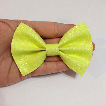 Neon Yellow Canvas Hair Bow on Alligator Clip - 4 Inches Wide - AFFORDABOW Line - Affordable and High Quality Hair Bows