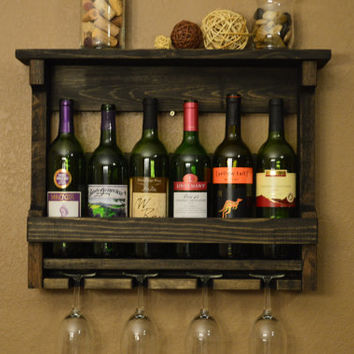 Rustic Reclaimed Wood 6 bottle Wine Rack Shelf with 4 glass holder.