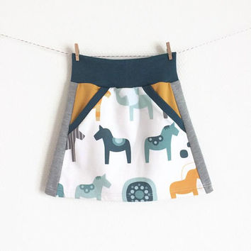 Baby or toddler skirt. Comfortable waist band. Grey and white skirt with dala horses. Sizes 3 Months - 4T. Girl's skirt, small skirt.
