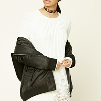 Distressed Purl Knit Sweater