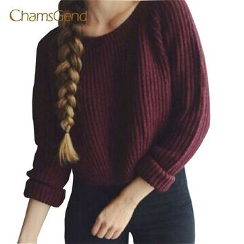 Chamsgend Drop Shipping HOT Women Casual Autumn Long Sleeve Loose Knit Short Burgundy Sweater Crop Top Pullover  70925
