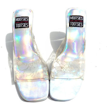 PVC Lace Holographic Sandal Heels FREE SHIPPING