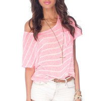 Brandy Striped Knit Top in Pink and White :: tobi