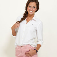 Women's Button down Shirts: White Oxford shirt for Women – Vineyard Vines