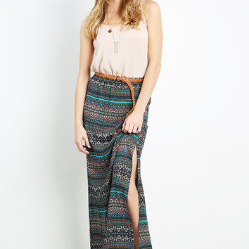 Abstract Maxi Skirt W/Belt