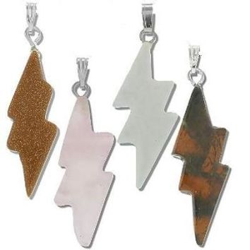 Lightning Bolt Stone Pendant  assorted Stones Sold by Piece