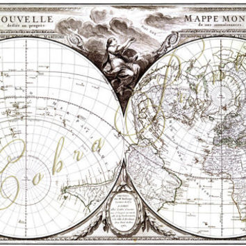 Ancient Map - Mappe Monde c.1760 - Digital Sheet CP-174 for Journaling, Wall Decor, Iron-On Transfer - 16.7x10 - Instant Download