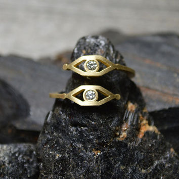 Evil Protection Ring - White Gold, Yellow Gold or Rose Gold Evil Eye Ring with 2 White Diamonds