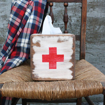 FREE SHIP Rustic Distressed Red Cross First Aid Wood Tissue Box Holder