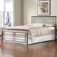 King Size Contemporary Metal Bed in Silver & Cherry Finish