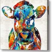 Colorful Cow Art - Mootown - By Sharon Cummings Acrylic Print
