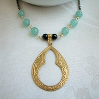 Brass Stamped Pendant Necklace Black Onyx Jade Bead Rolo Chain 22 Inch