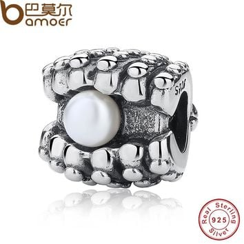 Authentic 925 Sterling Silver Pearl OYSTER Charm Fit Original Bracelet DIY Accessories Jewelry PAS088