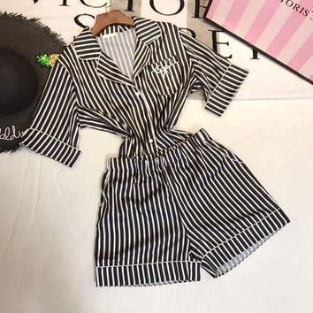 DCCKJL0 Victoria's Secret Women Silk Satin Stripe Robe Sleepwear Loungewear Set Two-Piece