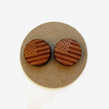 Wooden American Flag Earrings // Wooden Studs // USA // Fourth of July // July 4th // Summertime // Patriotic // Mothers Day //Flag Earrings