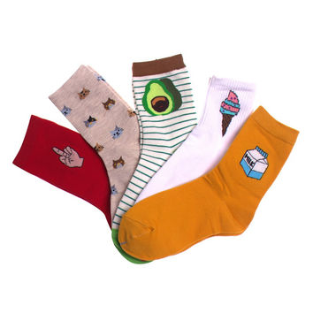5 Styles Women Socks Cute Cartoon Designs Avocado Pug Cat Food Funny Socks Calcetines Lot Gift Box 35-39