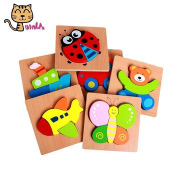 14.8*14.8cm Wooden Toys Cartoon Jigsaw Board Animal Jigsaw Puzzle 3D Wooden Baby Education Toys Animal Puzzle Kids Game Toys