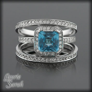 Square Cut Blue Topaz and Diamond Engagement Ring with Half Eternity Wedding Rings - LS423