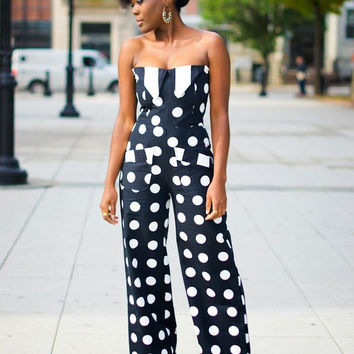 Navy Polka Dot Print Strapless Jumpsuit