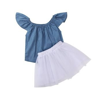 2Pcs Toddler Kids Baby Girls Clothing Set Outfits Denim Tops Short Sleeve Tulle Tutu Skirts Clothes Set Girl 1-6T
