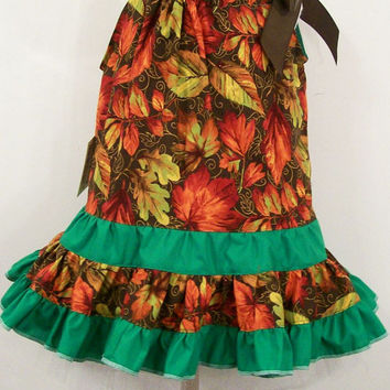 Girls Fall Leaves on Brown Boutique Ruffled Pillowcase Dress--#278--