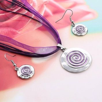 6 Colors Spiral Screw Pendant Necklace Ribbon Rope Leather Chain Necklace with Drop Earrings Fine Jewelry Sets for Female
