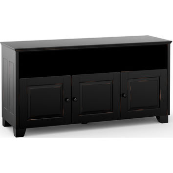 Hampton 65 Inch TV Stand Cabinet Soundbar Opening Distressed Black