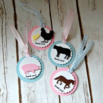 Vintage Chic Farm Theme Birthday Party Favor Tags, Barnyard Party Favor Bags, Farm Animal Party Favor Tag (set of 12)