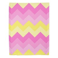 Hot Pink Yellow Chevron Ombre Zigzag Pattern Duvet Cover