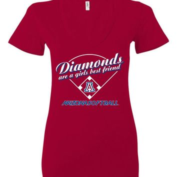 Official NCAA Venley University of Arizona Wildcats U of A Wilber Wildcat BEAR DOWN! Softball Diamonds are a Girls Best Friend Ladies Deep V-Neck - uofa2489